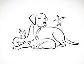 Vector group of pets - Dog, cat, bird, rabbit,