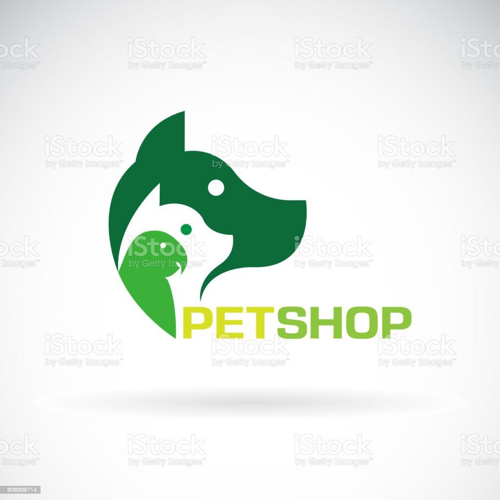 Grupo del vector de gato mascotas - perro, loro sobre fondo blanco. Hermoso símbolo del animal doméstico. Icono del animal doméstico, ilustración vectorial capas editable fácil. - ilustración de arte vectorial