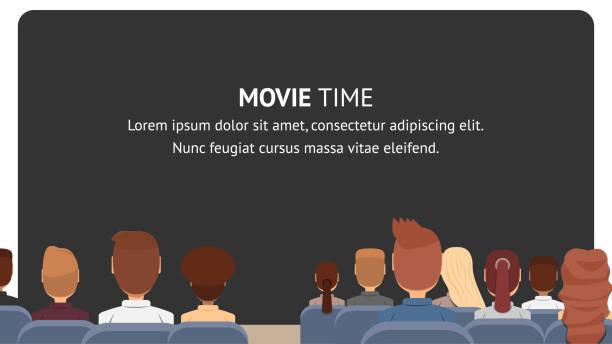 vector gruppe leute sitzen im kino. filmzeit - film oder fernsehvorführung stock-grafiken, -clipart, -cartoons und -symbole