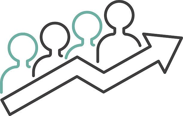stockillustraties, clipart, cartoons en iconen met vector growing chart graph icon business arrow progress diagram - aandelen