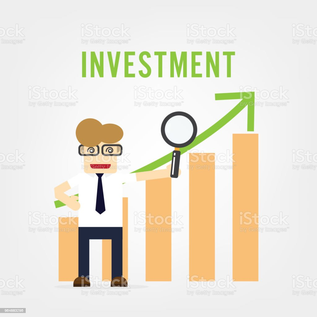 Vector growth concept in flat style happy business man and graph, Investment concept royalty-free vector growth concept in flat style happy business man and graph investment concept stock vector art & more images of adult