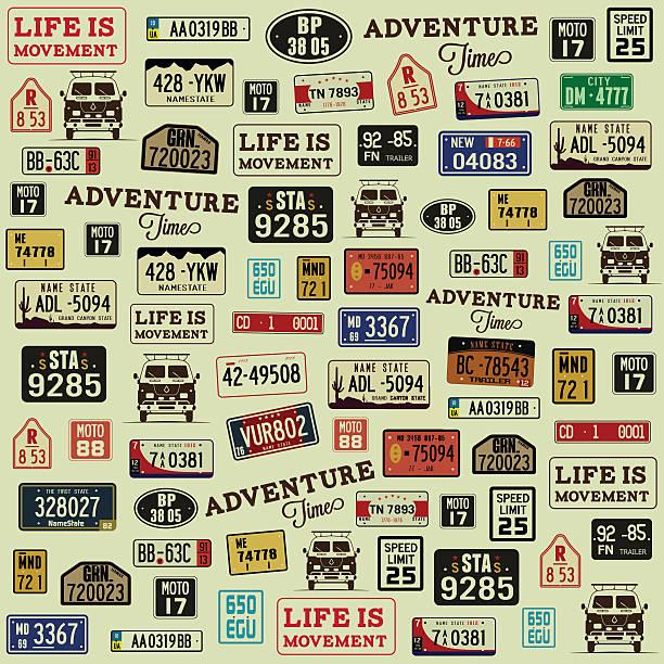 vector grunge background with car number plates. - nummernschilder stock-grafiken, -clipart, -cartoons und -symbole