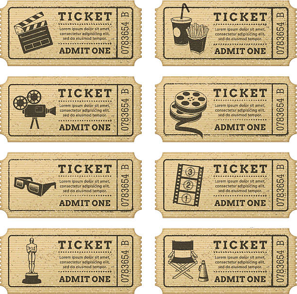 Vector Grunge Cinema tickets Eight hi quality vector cinema tickets. Each ticket is orgenized in 3 layers, separating background from art and text. admit one stock illustrations
