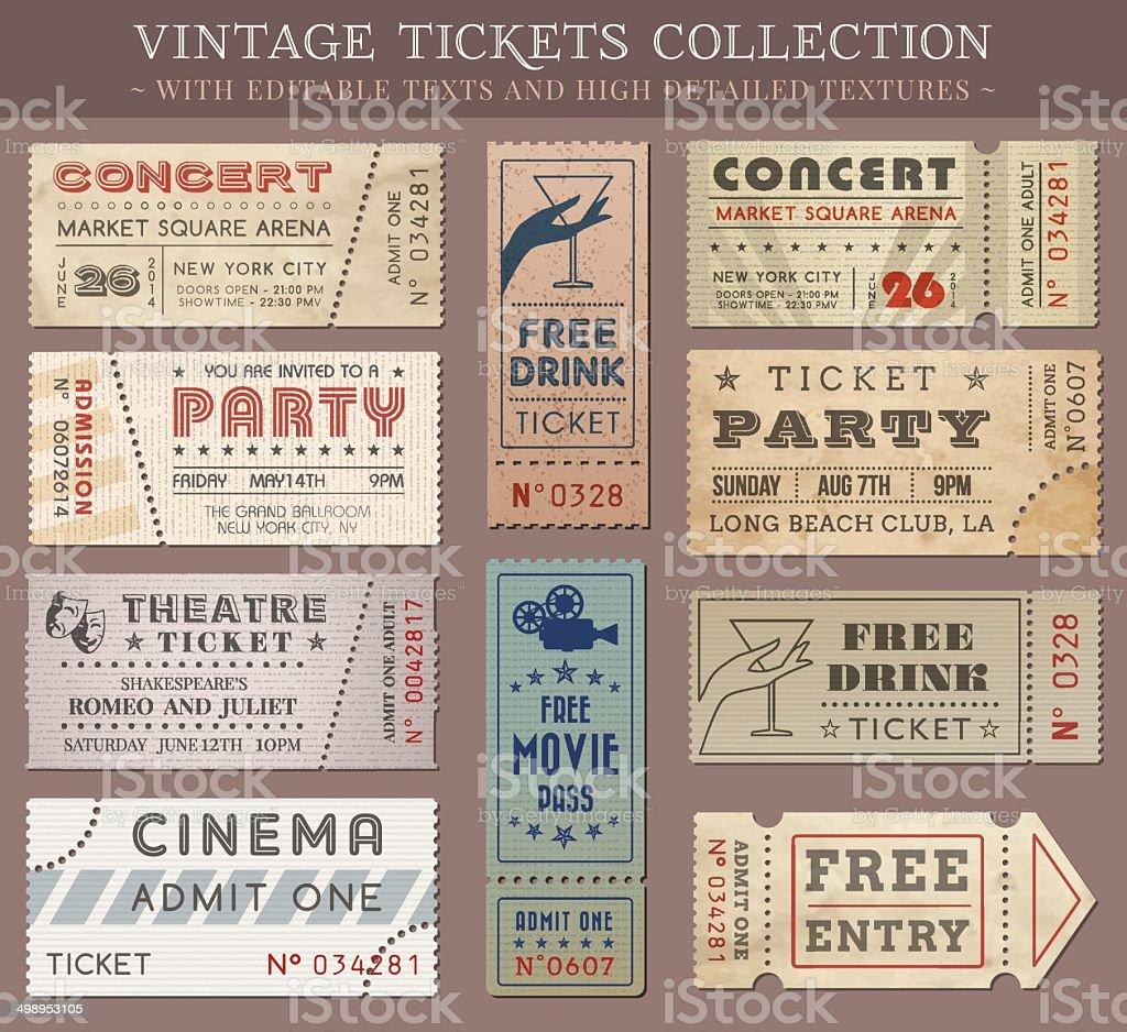 Vector Grunge Cinema tickets vector art illustration