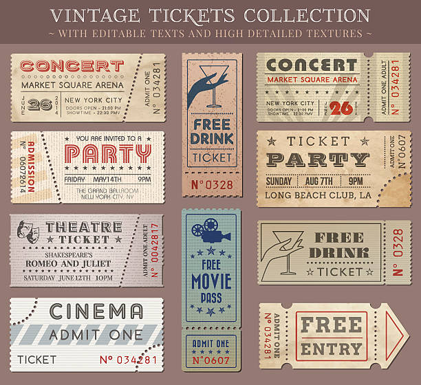 Vector Grunge Cinema tickets Hi quality vector tickets and coupons. Each ticket is orgenized in layers, separating background from art and text and graphic elements admit one stock illustrations