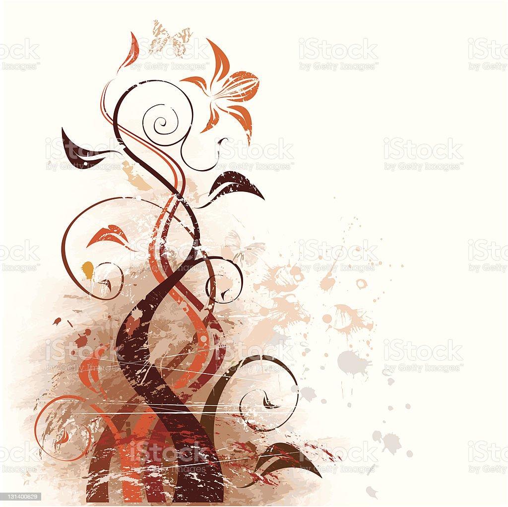 Vector Grunge Floral Background Stock Illustration ...