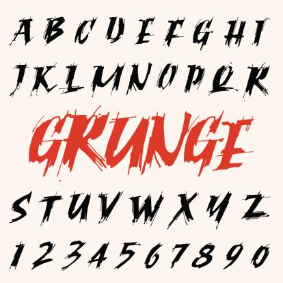 vector grunge font set. capitals alphabet