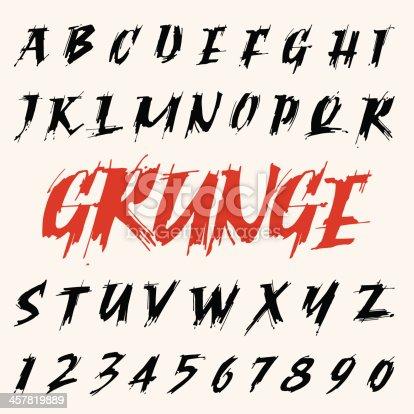 istock vector grunge font set. capitals alphabet 457819889