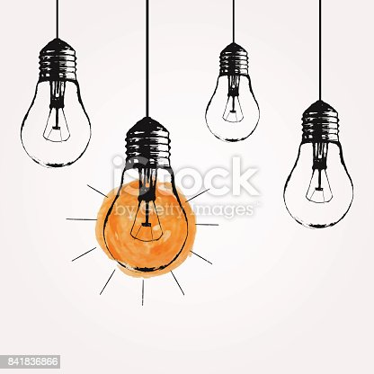istock Vector grunge illustration with hanging light bulbs and place for text. Modern hipster sketch style. Unique idea and creative thinking concept. 841836866