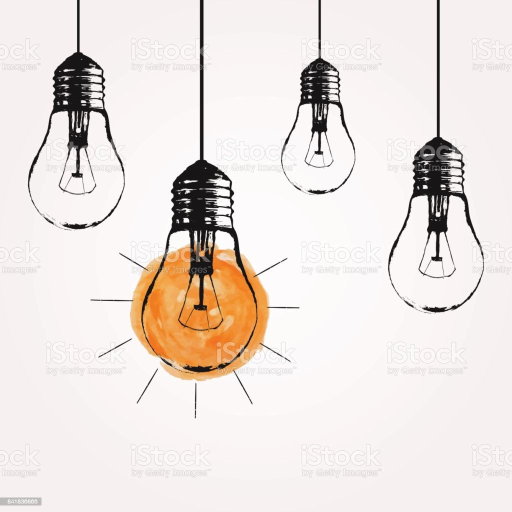 Vector grunge illustration with hanging light bulbs and place for text. Modern hipster sketch style. Unique idea and creative thinking concept. vector art illustration