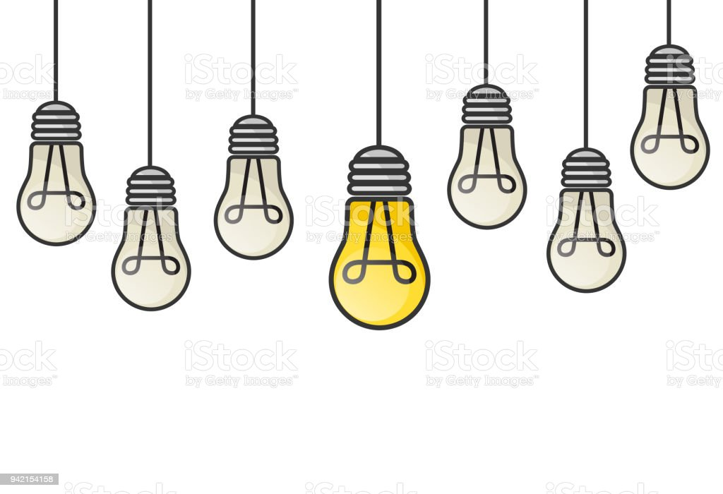 Vector Grunge Illustration With Hanging Light Bulbs And
