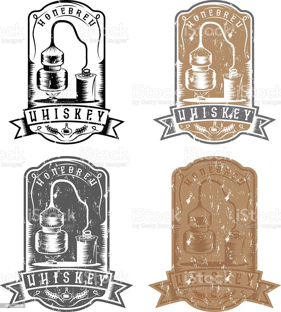 vector grunge labels of whiskey with home alcohol machine vector art illustration