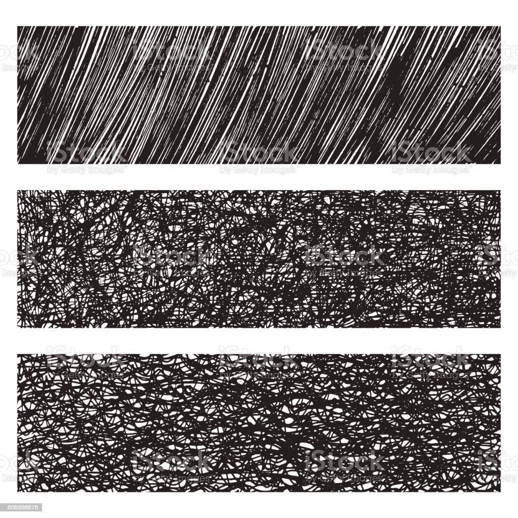 Vector grunge monochrome textures & patterns set vector art illustration