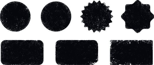 kształty uszczelnień grunge wektorowych - pieczęć gumowa stock illustrations
