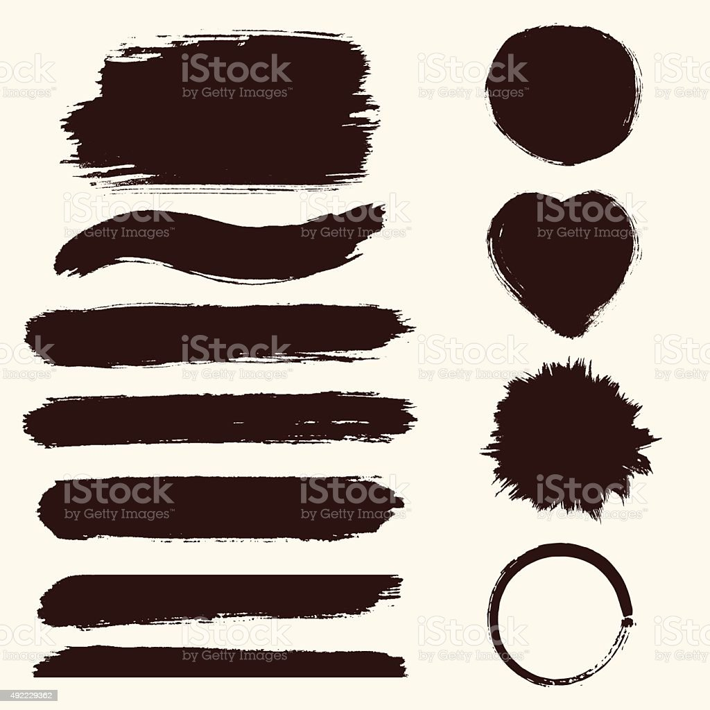 Vector  grunge set of paint stains.  Jpeg version also available vector art illustration