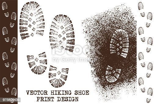 Three grunge shoe tracks prints vector illustrations on a dirty earth surface