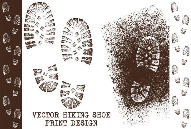 vector grunge shoe prints - оттиск stock illustrations