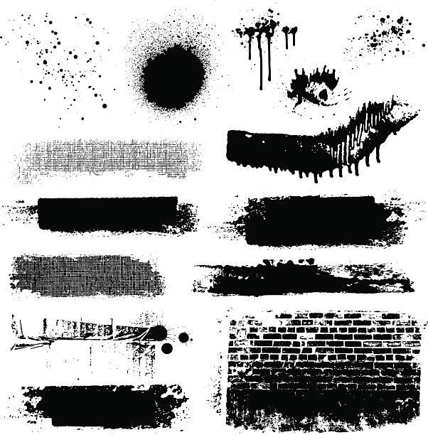 ilustrações, clipart, desenhos animados e ícones de vetor texturas grunge e tinta splatters - textura de grafite