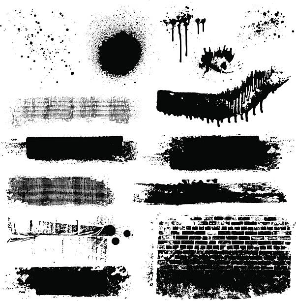 vector grunge textures and paint splatters - graffiti texture stock illustrations, clip art, cartoons, & icons