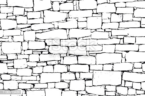 Vector black and white texture of stone wall