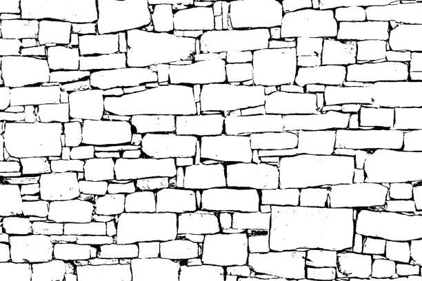 ilustraciones, imágenes clip art, dibujos animados e iconos de stock de vector grunge textura de la pared - textura de piedra