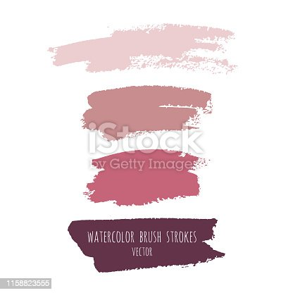 Vector grunge watercolor ink texture set of hand painted pastel powder color abstract dry brush splashes, strokes, stains, spots, elements, template, dirty geometric shapes. Freehand drawing, isolated