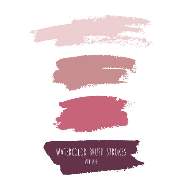 Vector grunge watercolor ink texture set Vector grunge watercolor ink texture set of hand painted pastel powder color abstract dry brush splashes, strokes, stains, spots, elements, template, dirty geometric shapes. Freehand drawing, isolated blusher make up stock illustrations