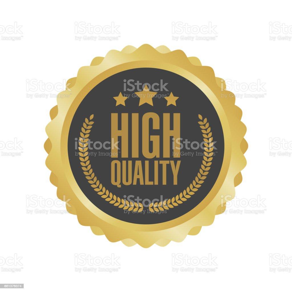 Vector Guaranteed Premium Quality Gold Sign Round Label
