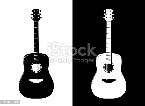 Set of Vertical Guitar Silhouettes in Vector EPS 10. Black and White illustrations in Realistic style.