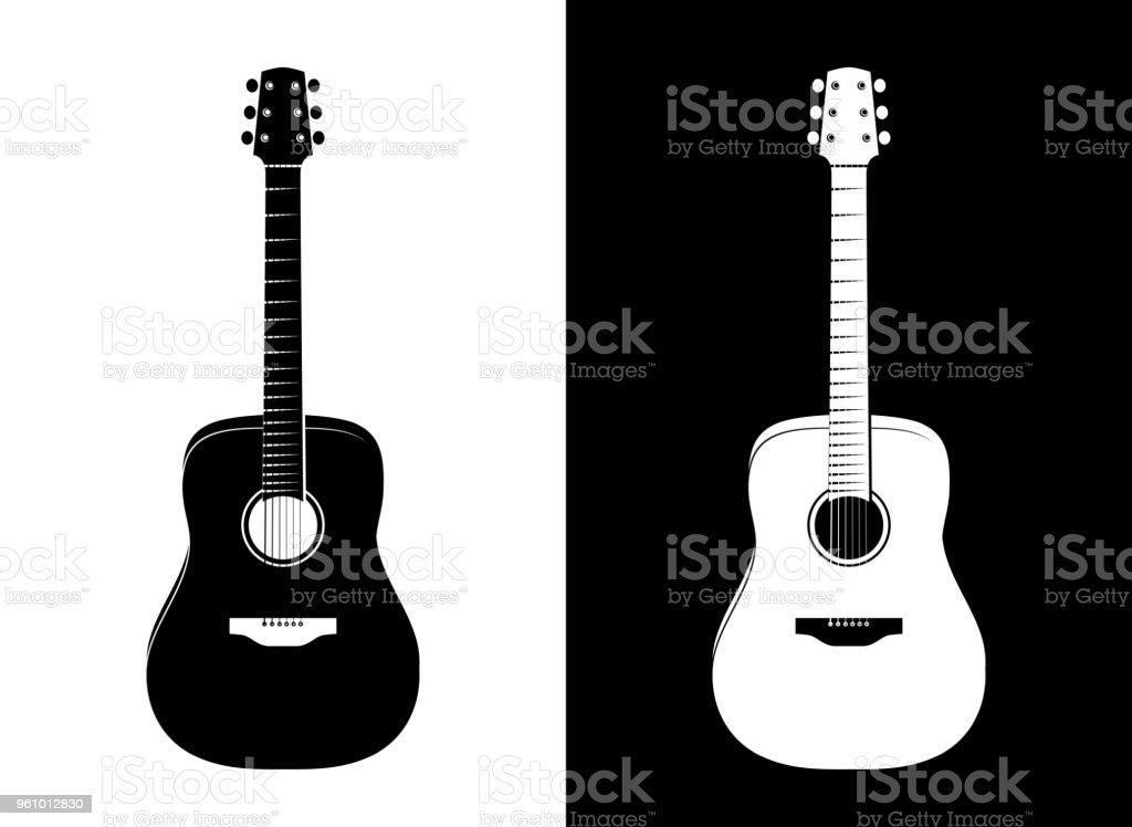Vector Guitar Illustration in Black and White vector art illustration