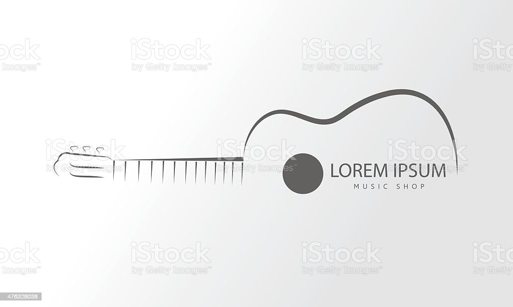 Vector guitar logo.Guitar line swirly art logo vector template vector art illustration