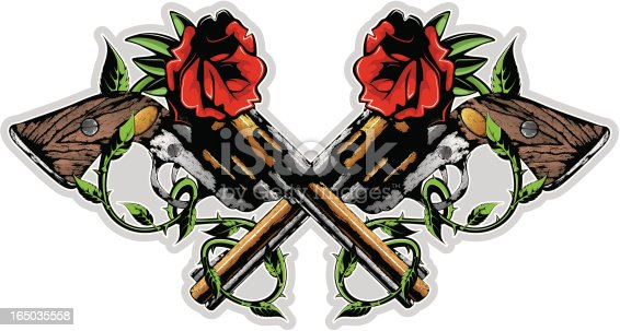 istock vector guns and roses 165035558