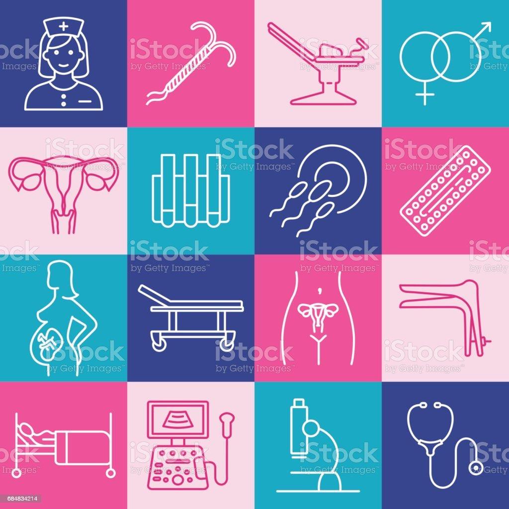 Vector gynecology symbols icon set vector art illustration