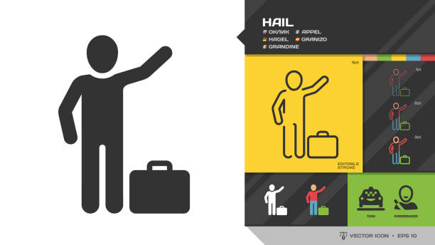 Vector hail passenger black glyph silhouette and editable stroke thin outline single color man icon for taxi cab service. Vector hail passenger black glyph silhouette and editable stroke thin outline single color man icon for taxi cab service. hailing a ride stock illustrations
