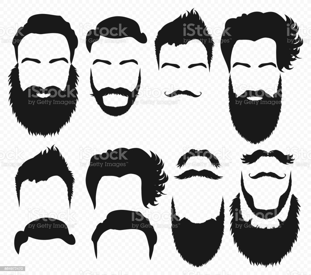 Vector Hair and beard shapes design constructor with men vector silhouette. Fashion silhouette black beard and mustache illustration. vector art illustration