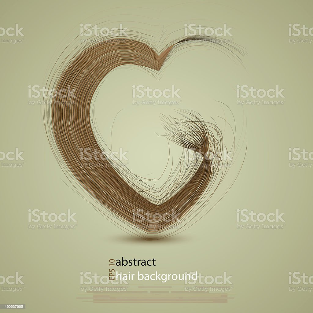 Vector hair in the shape of a heart vector art illustration