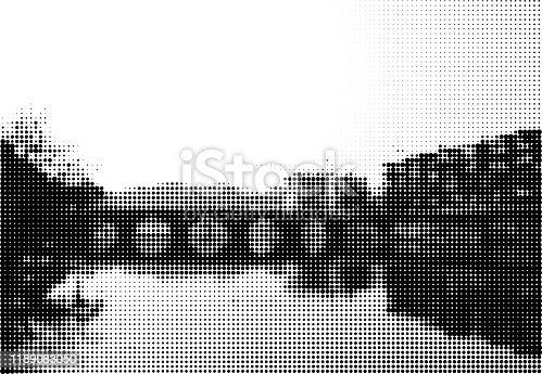 istock Vector half tone dots city landscape backgrounds 1189083050