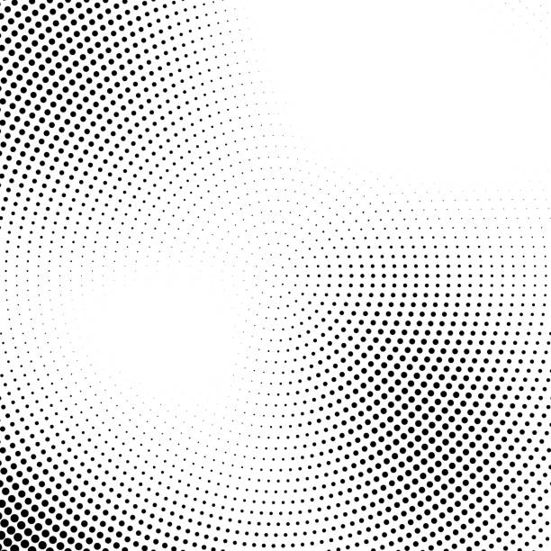 vector halftone abstract transition dotted circular pattern - black and white stock illustrations, clip art, cartoons, & icons