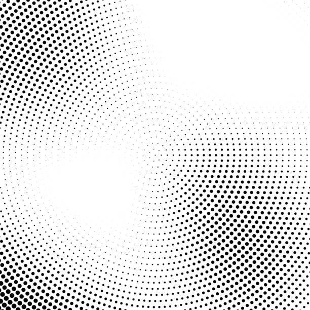 Vector halftone abstract transition dotted circular pattern - ilustração de arte em vetor