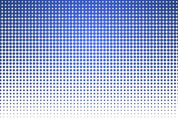 ilustrações de stock, clip art, desenhos animados e ícones de vector halftone blue color. gradient geometric vector colored pattern. wallpaper retro template. decoraton vector element. - desvanecido