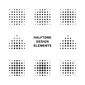 Vector Halftone Dots Logo Design Templates. Circle, square, arrow. Vector illustration.
