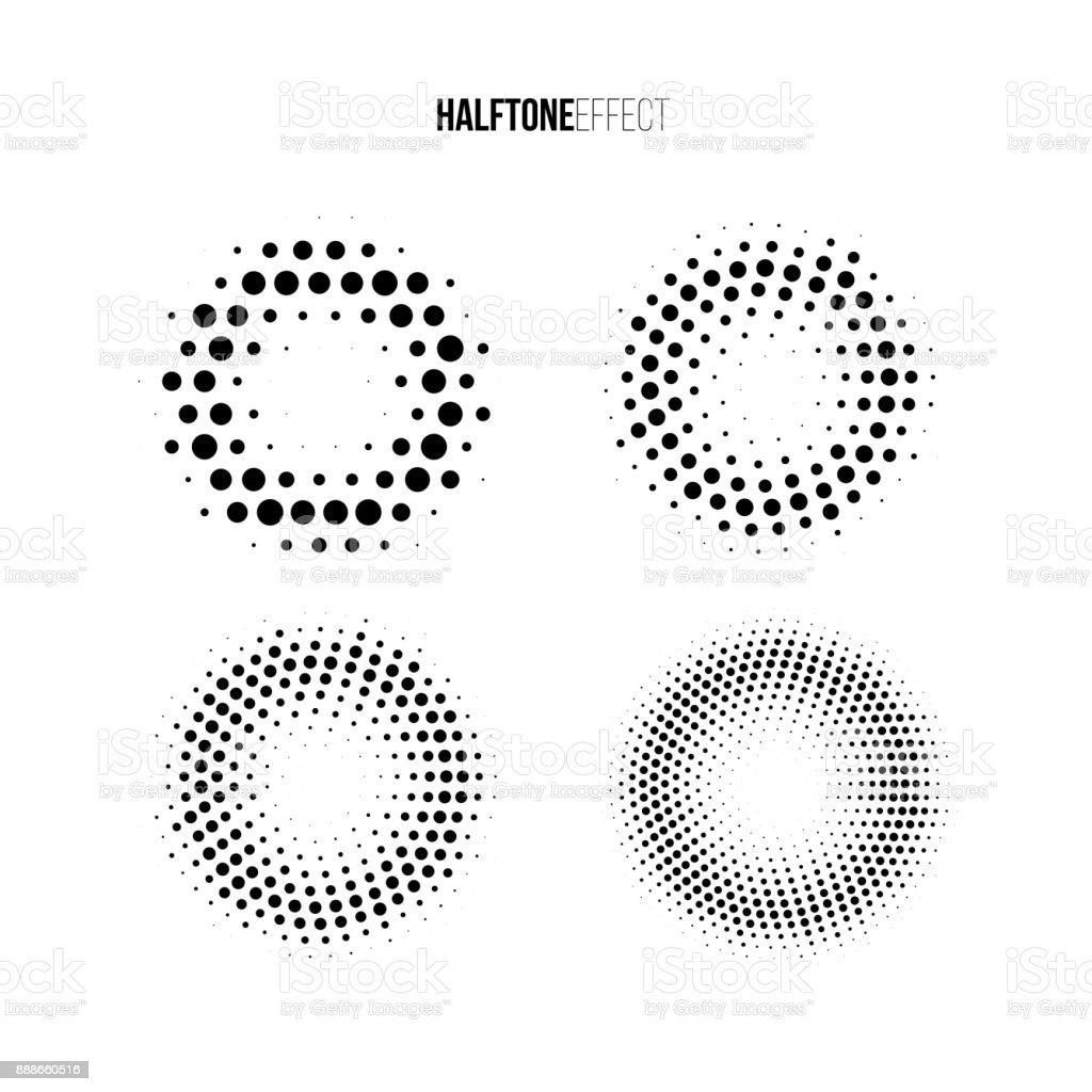 Efeito de meio-tom do vetor definido. Diferentes anéis gradientes em efeito de meio-tom. - ilustração de arte em vetor