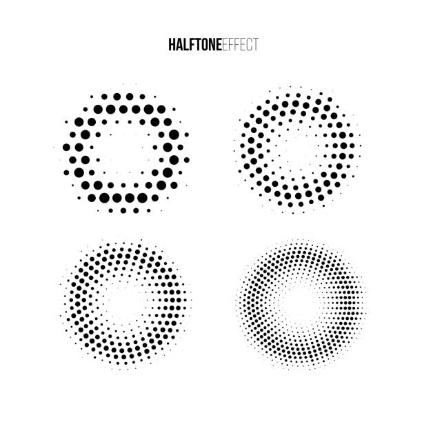 vector halftone effect set. different gradient rings in halftone effect. - spotted stock illustrations