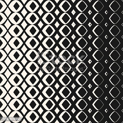 istock Vector halftone geometric pattern with smooth diamond shapes, carved grid 1281878997