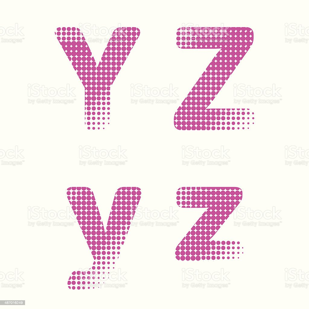 Vector halftone raster alphabet letters royalty-free stock vector art
