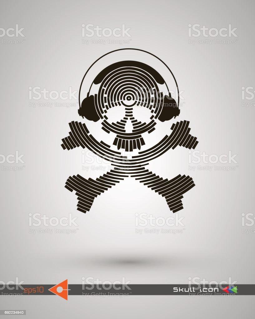 Vector Halftone Skulls Skull Icon Symbol Of Death Danger War Death