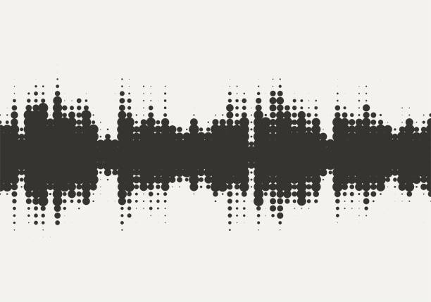 vector halftone sound wave design. abstract texture background. - black and white pattern stock illustrations, clip art, cartoons, & icons