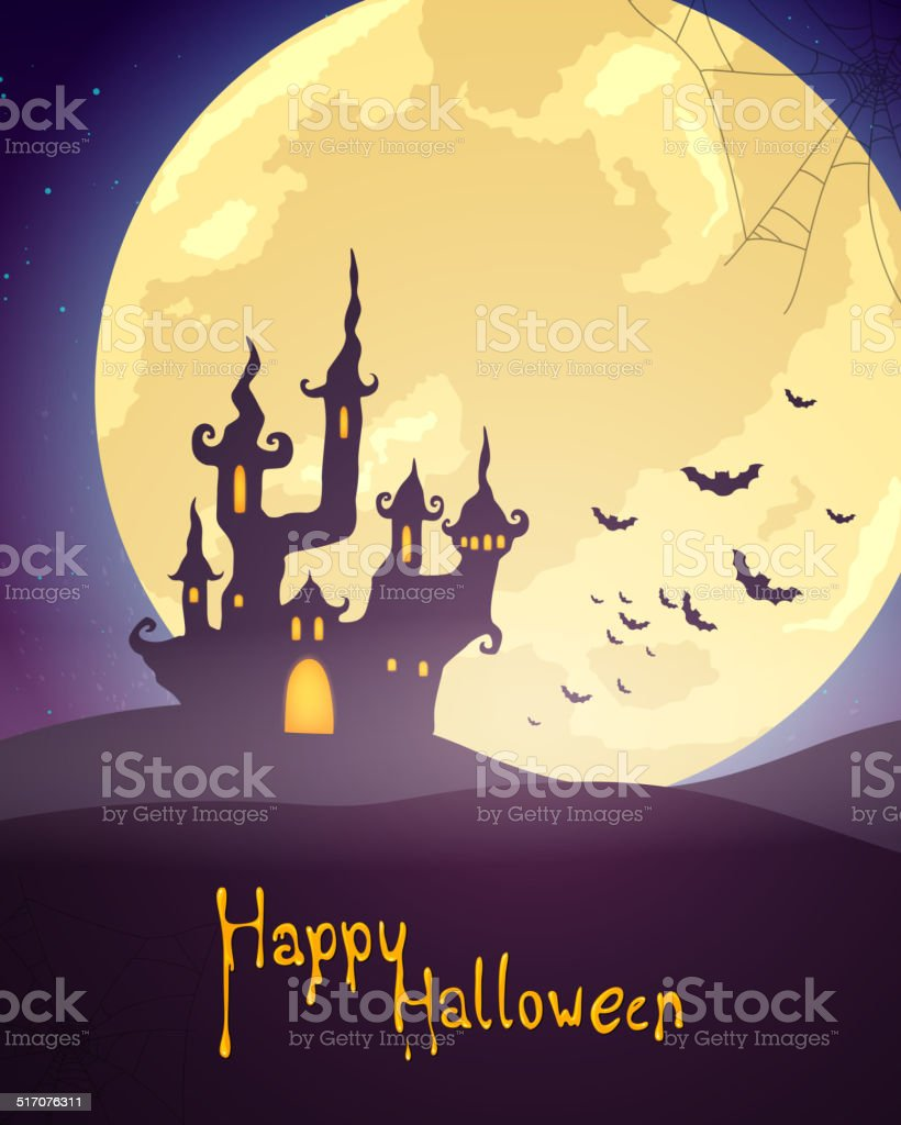 Vector Halloween Background with Castle vector art illustration