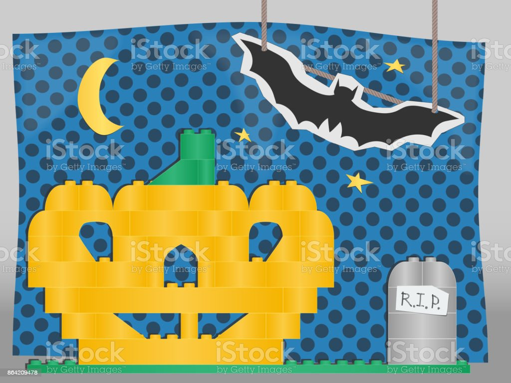 vector Halloween collage of children's toys. children's installation for the holiday. pumpkin and tomb of of isometric bricks. a cardboard bat on a string. stickers of stars and moon. background paper royalty-free vector halloween collage of childrens toys childrens installation for the holiday pumpkin and tomb of of isometric bricks a cardboard bat on a string stickers of stars and moon background paper stock vector art & more images of animal
