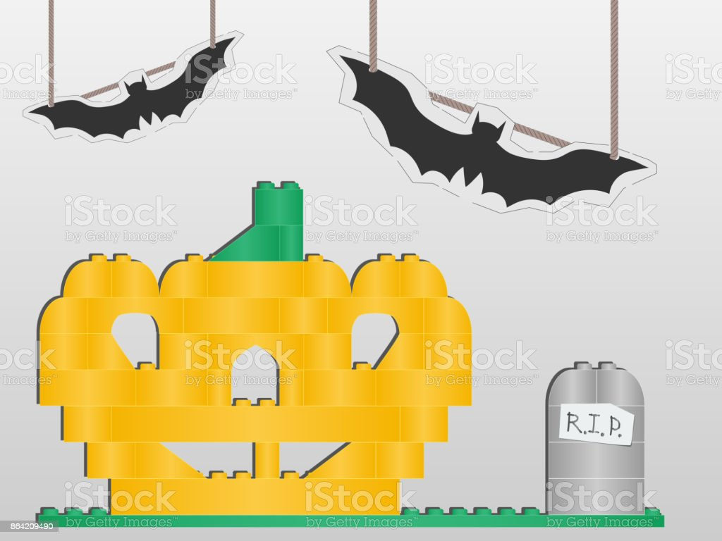 vector Halloween collage of children's toys. children's installation for the holiday. pumpkin and tomb of of isometric bricks. cardboard bats on strings. white background royalty-free vector halloween collage of childrens toys childrens installation for the holiday pumpkin and tomb of of isometric bricks cardboard bats on strings white background stock vector art & more images of animal